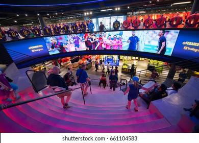 Barcelona, circa august 2014: FC Botiga Megastore Interior at Camp Nou in Barcelona