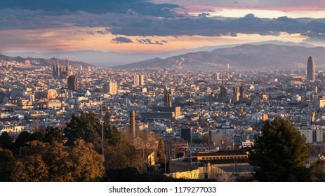 Barcelona City at daybreak. Catalonia, Spain