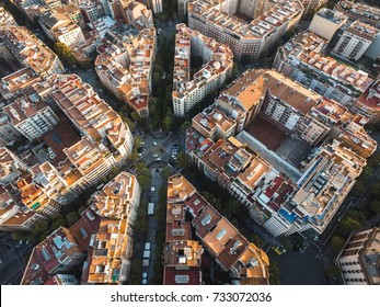 Barcelona City Grid Aerial