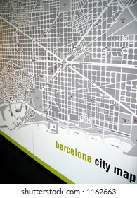 Barcelona City Map on the Wall