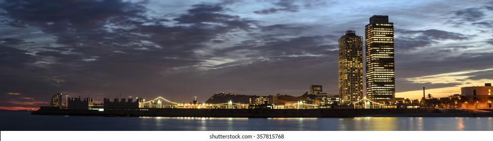 Barcelona City night scene