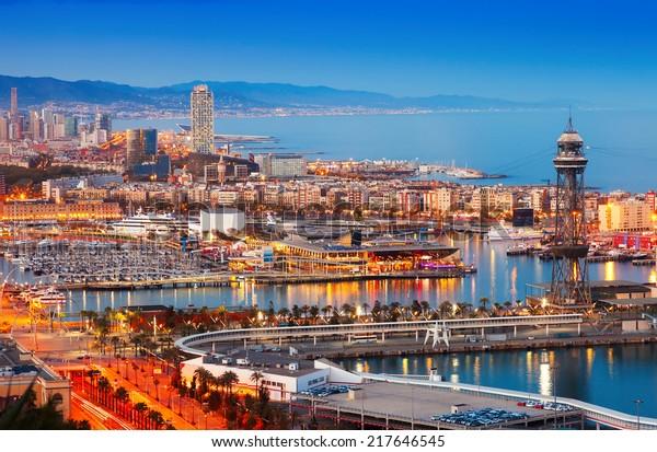 Cidade De Barcelona E Porto A Editar Agora Foto Stock 217646545