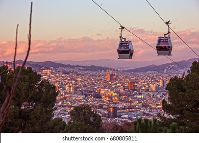 Barcelona city view, Spain. Cable car, Teleferic de Montjuic