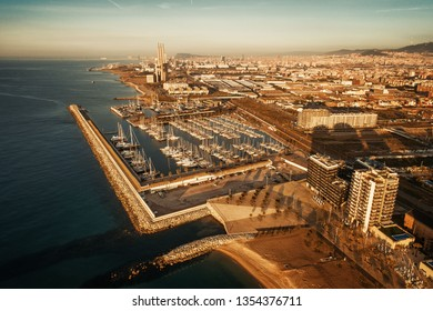 Barcelona coast pier aerial view in Spain at sunrise