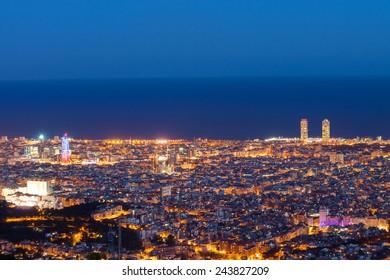 Barcelona at dawn seen from Mount Tibidabo