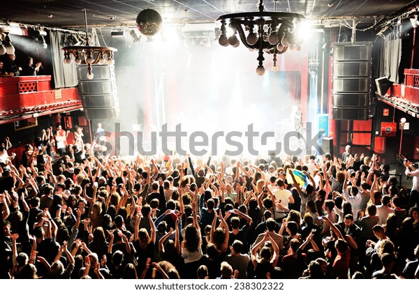 BARCELONA - DEC 05: Crowd in a concert at Apolo (venue) on December 05, 2014 in Barcelona, Spain.