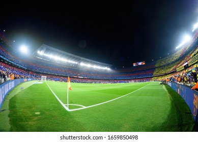 BARCELONA - DEC 18: View of the stadium prior to the La Liga match between FC Barcelona and Real Madrid at the Camp Nou Stadium on December 18, 2019 in Barcelona, Spain.