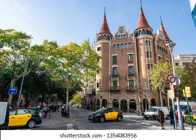 Barcelona, Dec 2018:The Casa de les Punxes or Casa Terradas - Spikes house- is a Modernist building by architect Josep Puig Cadafalch. Located in the Barcelona Eixample area