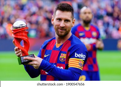 BARCELONA - DEC 21: Messi shows the La Liga Throphy prior to the La Liga match between FC Barcelona and Deportivo Alaves at the Camp Nou Stadium on December 21, 2019 in Barcelona, Spain.