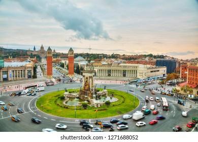 BARCELONA - DECEMBER 12: Aerial overview on Plaza Spain at sunset on December 12, 2018 in Barcelona, Spain.