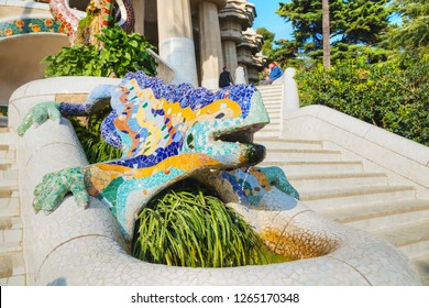 BARCELONA - DECEMBER 12: Famous dragon sculpture at Park Guell by Antoni Gaudi on December 12, 2018 in Barcelona, Spain.