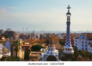 BARCELONA - DECEMBER 12: Overview of the city from park Guell on December 12, 2018 in Barcelona, Spain.