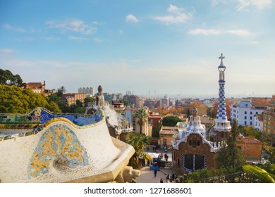 BARCELONA - DECEMBER 12: Overview of the entrance to park Guell on December 12, 2018 in Barcelona, Spain.
