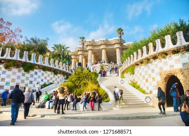 BARCELONA - DECEMBER 12: Overview of the park Guell entrance stairway on December 12, 2018 in Barcelona, Spain.