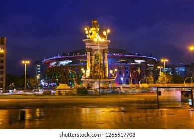 BARCELONA - DECEMBER 12: Plaza Espanya at night on December 13, 2018 in Barcelona, Spain.
