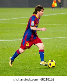BARCELONA - DECEMBER 13: Leo Messi in action at Nou Camp Stadium. The Spanish Soccer League team FC Barcelona beat the Real Sociedad, 5-0. December 13, 2010 in Barcelona (Spain).