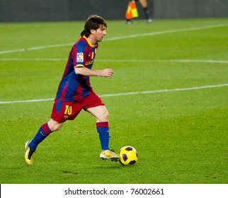 BARCELONA - DECEMBER 13:Leo Messi (10) in action during the Spanish Football League match between FC Barcelona and Real Sociedad, 5 - 0, in Camp Nou stadium. December 13, 2010 in Barcelona (Spain).