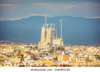 BARCELONA - DECEMBER 14: Aerial overview with Sagrada Familia on a sunny day on December 14, 2018 in Barcelona, Spain.
