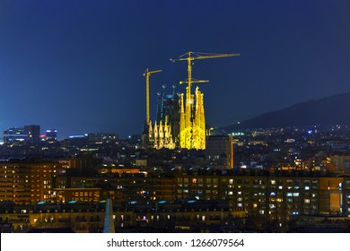 BARCELONA - DECEMBER 14: Aerial overview with Sagrada Familia at night time on December 14, 2018 in Barcelona, Spain.