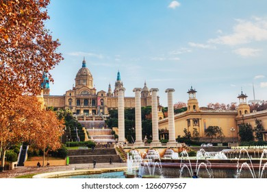 BARCELONA - DECEMBER 14: Montjuic hill with people on a sunny day on December 14, 2018 in Barcelona, Spain.