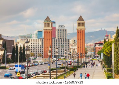 BARCELONA - DECEMBER 14: Overview of the city from the Montjuic hill on December 14, 2018 in Barcelona, Spain.