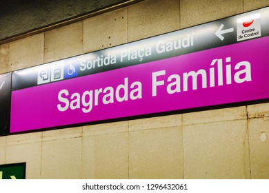 BARCELONA - DECEMBER 14: Sagrada Familia underground sign on December 14, 2018 in Barcelona, Spain.