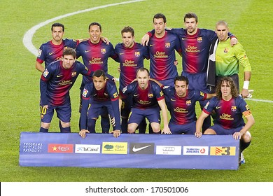 BARCELONA - DECEMBER 16: FCB players before the Spanish League match between FC Barcelona and Atletico de Madrid, final score 4 - 1, on December 16, 2012, in Camp Nou, Barcelona, Spain.