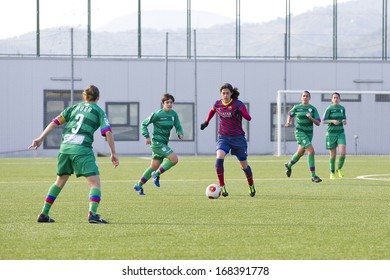 BARCELONA - DECEMBER 21: Miriam Dieguez of FCB in action at Superliga - Women's Football Spanish League - match between FC Barcelona and Levante UD, 1-0, on December 21, 2013, in Barcelona, Spain.