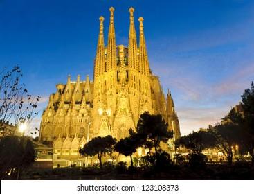 BARCELONA -Â?Â? DECEMBER 27: La Sagrada Familia, cathedral designed by Antoni Gaudi that is being build since 1882, on December 27, 2012, Barcelona, Spain.