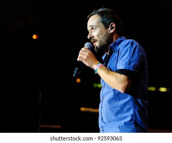 BARCELONA – DECEMBER 29: Santi Balmes singer of Love of Lesbian band playing at the Fnac Music Festival in Palau Sant Jordi on December 29, 2011 in Barcelona, Spain.
