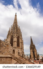 Barcelona, Detail of the gothic Cathedral of the Holy Cross and Saint Eulalia (Catedral de la Santa Cruz y Santa Eulalia) Catalonia, Spain - 13th, 15th centuries