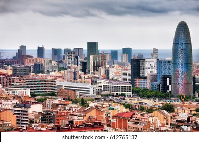 Barcelona downtown city skyline in Catalonia, Spain, financial district.