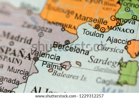 Barcelona Europe On Geography Map Stock Photo Edit Now 1229312257