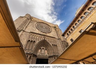 Barcelona, facade of the Santa Maria del Pi, gothic church in the Barri Gotic quarter near the ramblas, in old town (XV century). Catalonia, Spain, Europe