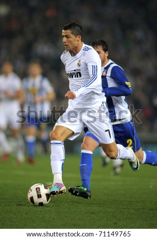 3bc079942 BARCELONA - FEB 13  Cristiano Ronaldo of Real Madrid during a spanish  league match between Espanyol and Real Madrid at the Estadi Cornella on  February 13