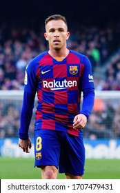 BARCELONA - FEB 15: Arthur Melo plays at the La Liga match between FC Barcelona and Getafe CF at the Camp Nou Stadium on February 15, 2020 in Barcelona, Spain.