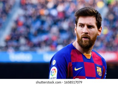 BARCELONA - FEB 15: Lionel Messi plays at the La Liga match between FC Barcelona and Getafe CF at the Camp Nou Stadium on February 15, 2020 in Barcelona, Spain.