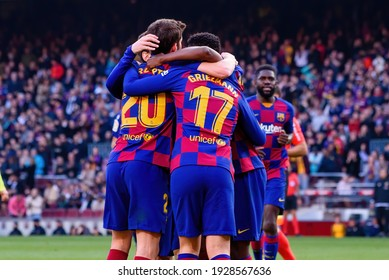 BARCELONA - FEB 15: Barcelona players celebrate a goal at the La Liga match between FC Barcelona and Getafe CF at the Camp Nou Stadium on February 15, 2020 in Barcelona, Spain.