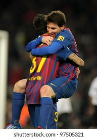 BARCELONA - FEB, 19: Leo Messi of FC Barcelona celebrating goal during the Spanish league match against Valencia CF at the Camp Nou stadium on February 19, 2012 in Barcelona, Spain