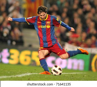 BARCELONA - FEB 20: Messi of Barcelona in action during the match between FC Barcelona and Athletic de Bilbao at the Nou Camp Stadium on February 20, 2011 in Barcelona, Spain
