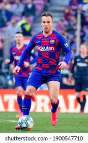 BARCELONA - FEB 23: Arthur Melo plays at the La Liga match between FC Barcelona and SD Eibar at the Camp Nou Stadium on February 23, 2020 in Barcelona, Spain.