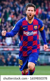 BARCELONA - FEB 23: Lionel Messi celebrates a goal at the La Liga match between FC Barcelona and SD Eibar at the Camp Nou Stadium on February 23, 2020 in Barcelona, Spain.