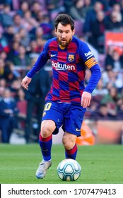 BARCELONA - FEB 23: Lionel Messi plays at the La Liga match between FC Barcelona and SD Eibar at the Camp Nou Stadium on February 23, 2020 in Barcelona, Spain.