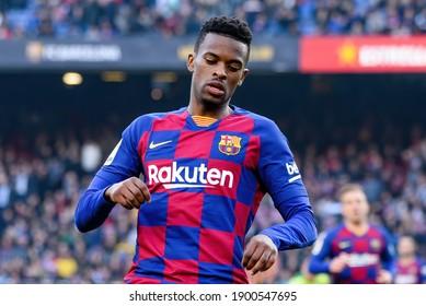 BARCELONA - FEB 23: Nelson Semedo plays at the La Liga match between FC Barcelona and SD Eibar at the Camp Nou Stadium on February 23, 2020 in Barcelona, Spain.