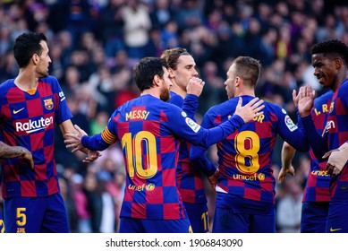 BARCELONA - FEB 23: Barcelona players celebrate a goal at the La Liga match between FC Barcelona and SD Eibar at the Camp Nou Stadium on February 23, 2020 in Barcelona, Spain.