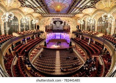 BARCELONA - FEB 24: The Palau de la Musica Catalana (Palace of Catalan Music) on February 24, 2017 in Barcelona, Spain.
