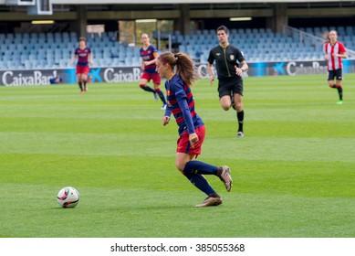 BARCELONA - FEB 28: F.C Barcelona women's football team play against Athletic Club de Bilbao on February 28, 2016 in Barcelona, Spain. Superliga (Femenine Spanish Soccer League) match.