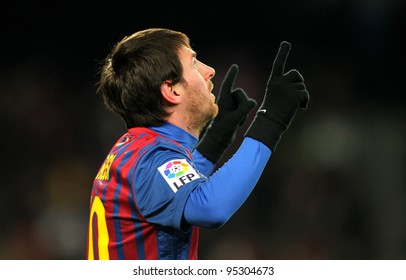 BARCELONA - FEB, 4: Leo Messi of FC Barcelona celebrates goal during spanish league match between FC Barcelona vs Real Sociedad at the Camp Nou stadium on February 4, 2012 in Barcelona, Spain
