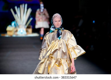 BARCELONA - FEB 4: A model walks the runway for the Manuel Bolano collection at the 080 Barcelona Fashion Week 2015 Fall Winter on February 4, 2015 in Barcelona, Spain.