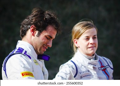 BARCELONA - FEBRUARY 19: Felipe Nasr of Sauber F1 Team & Susie Wolff of Williams Martini Racing at Formula One Test Days at Catalunya circuit on February 19, 2015 in Barcelona, Spain.